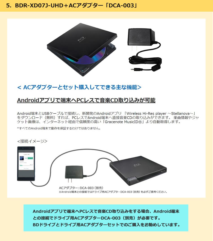 BDR-XD07J-UHD+ACアダプターケーブルセットのご紹介