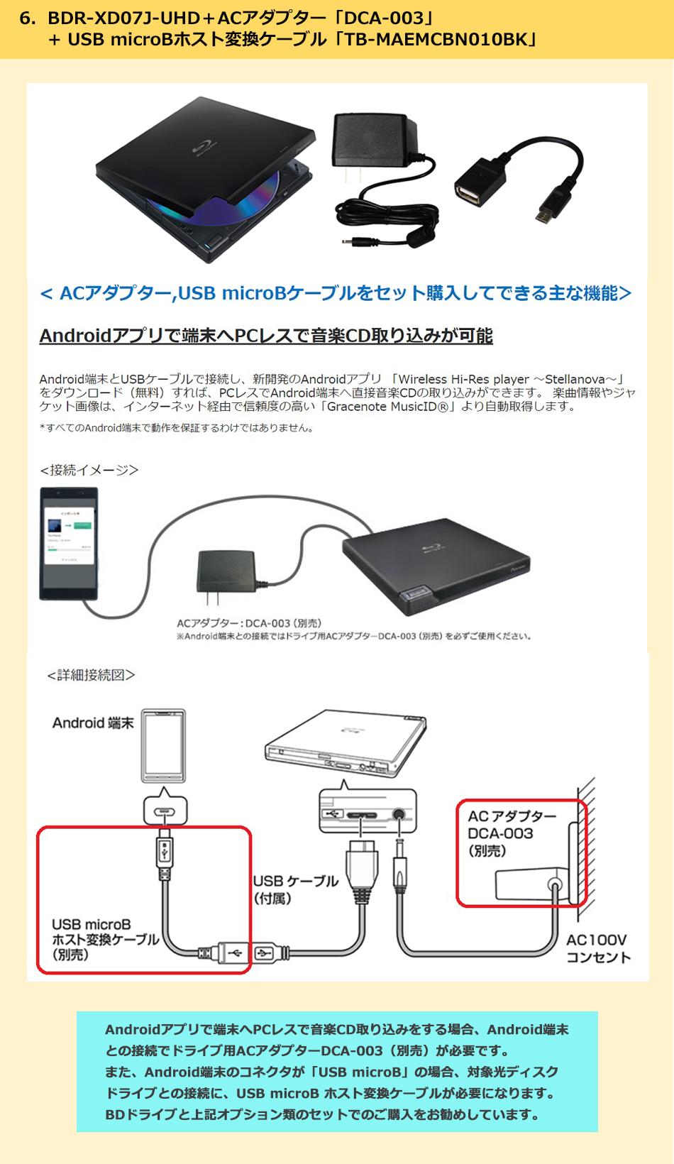 BDR-XD07+ACアダプターケーブル+USB microBケーブルセットのご紹介