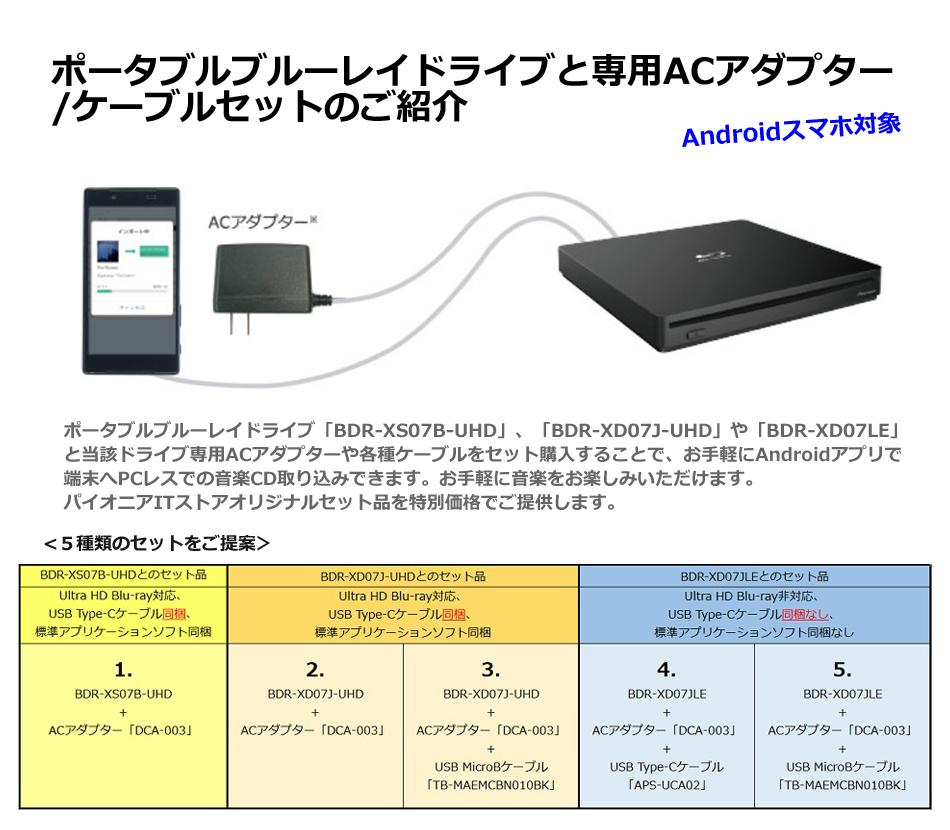 ポータブルブルーレイドライブと専用ACアダプター /ケーブルセットのご紹介