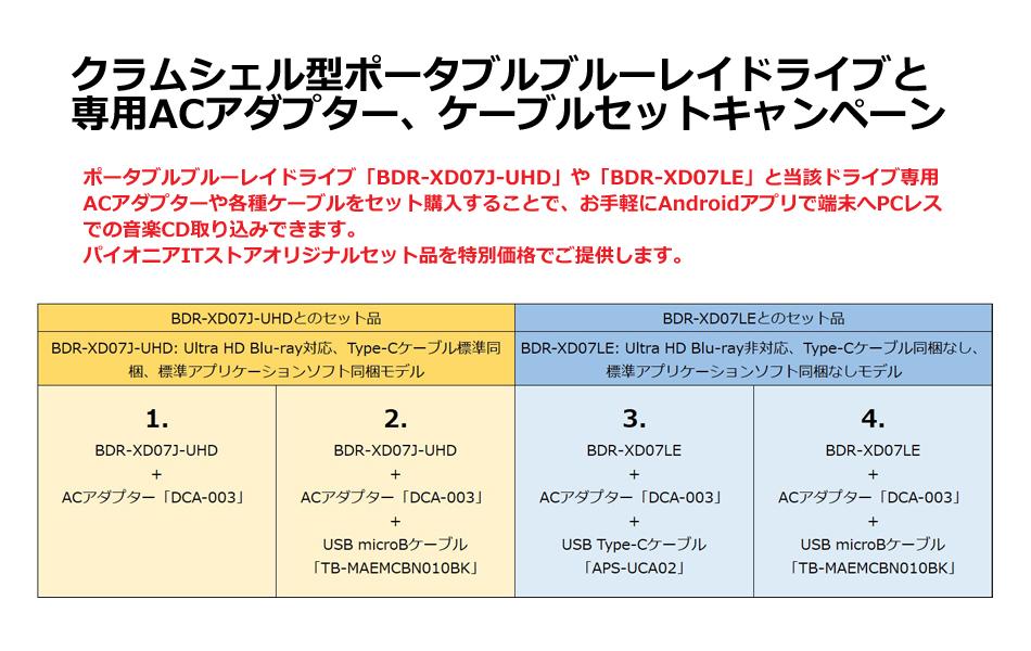 BDR-XD07+ACアダプターケーブルキャンペーン