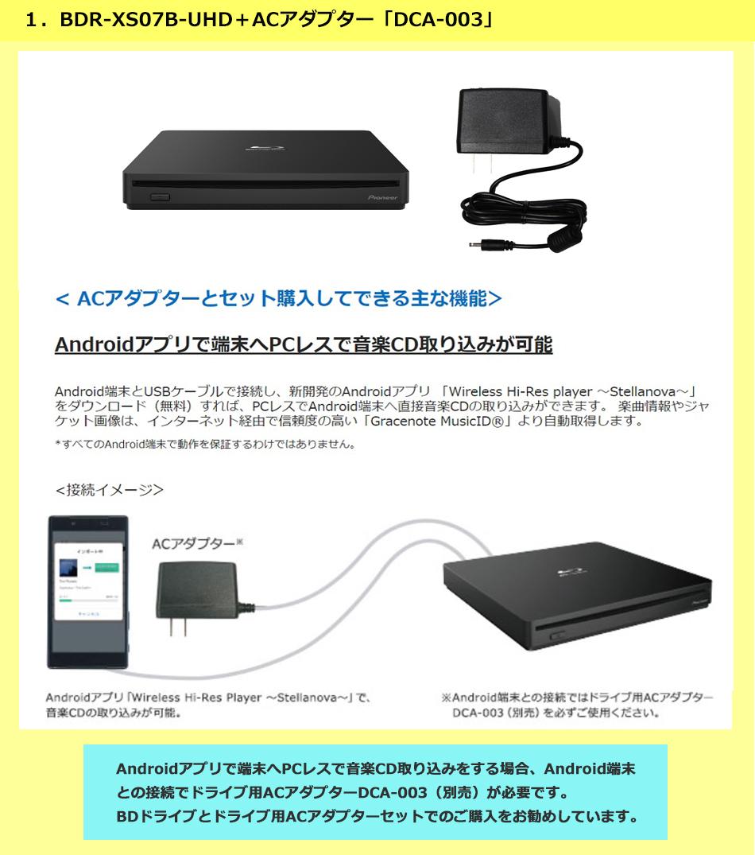 1.BDR-XS07B-UHD+ACアダプター「DCA-003」セットのご紹介