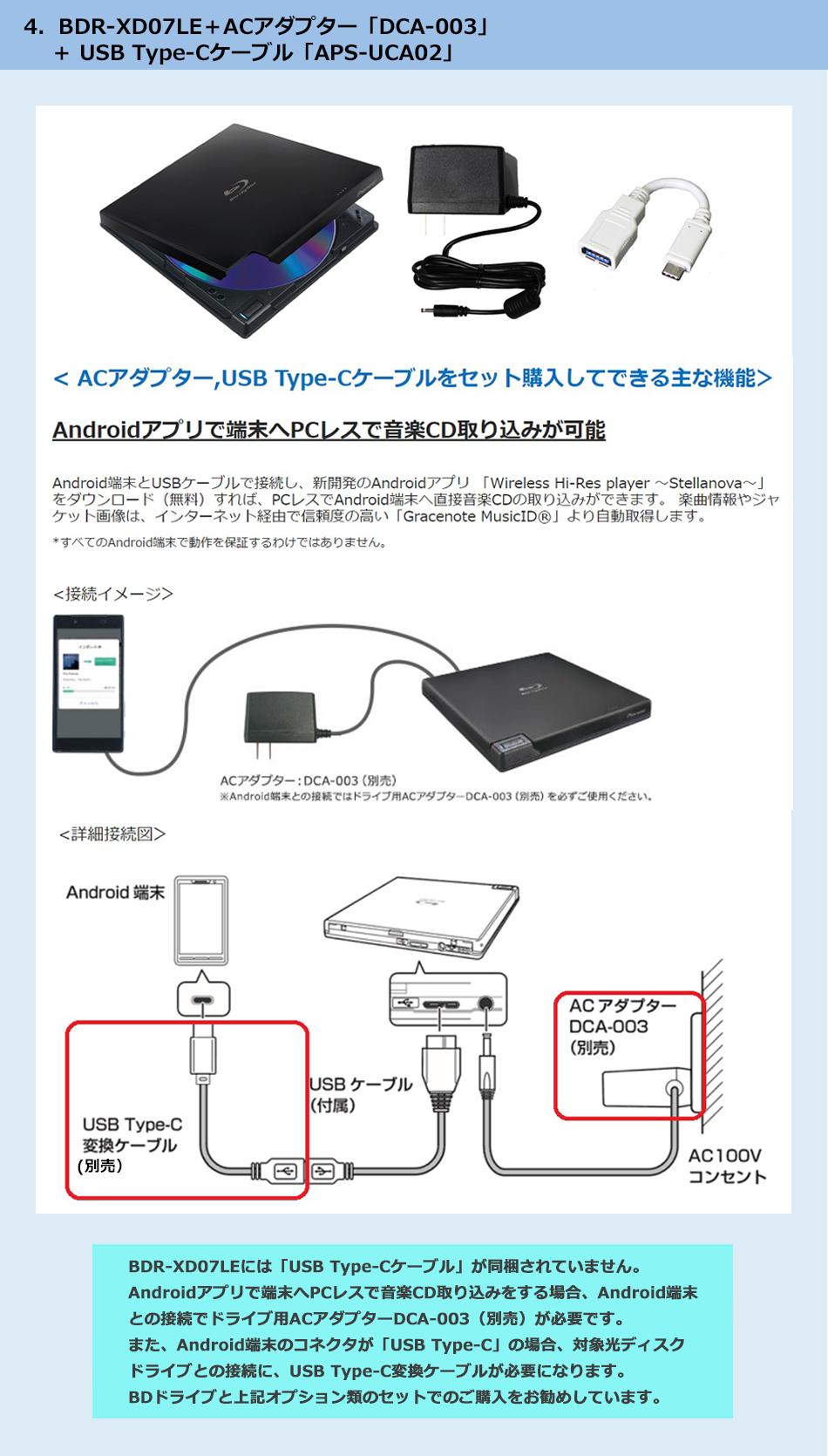 4.BDR-XD07LE+ACアダプター「DCA-003」+USB Type-Cケーブル「APS-UCA02」セットのご紹介